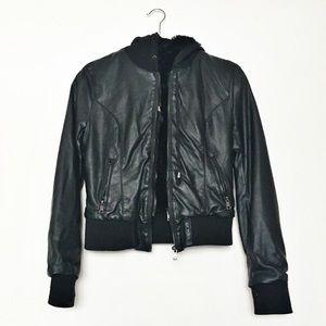 LA Hearts Faux Leather Faux Fur Lined Jacket